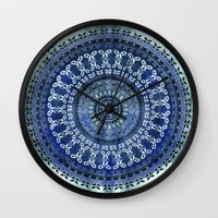 Vintage Blue Wash Mandala Wall Clock