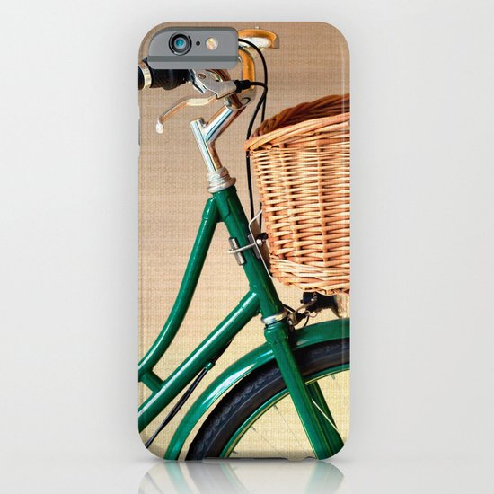 Vintage green bicycle with basket and textured background  iPhone & iPod Case
