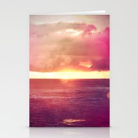 Ocean Sunset Bokeh Stationery Cards