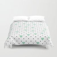 Pin Point Hearts Mint Duvet Cover