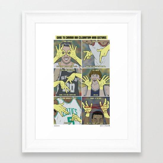 Guide to NBA Celebratory Hand Gestures  Framed Art Print