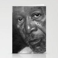 Morgan Freeman Traditional Portrait Print Stationery Cards