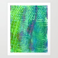 Textured Green And Pink Art Print