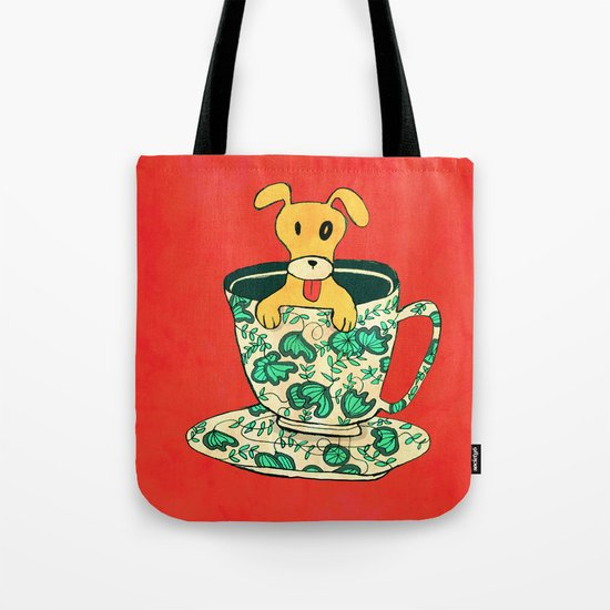 Dinnerware Sets - puppy in a teacup Tote Bag