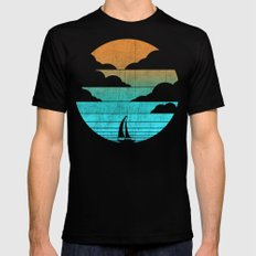 Go West (sail away in my boat) Mens Fitted Tee SMALL Black