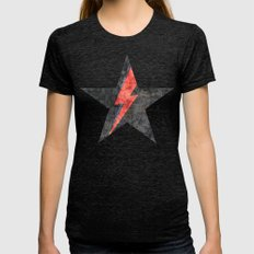BlackStarMan (waiting in the sky) Womens Fitted Tee Tri-Black SMALL