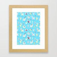 Alpaca Pattern Framed Art Print