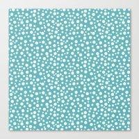 Aqua White Confetti Canvas Print