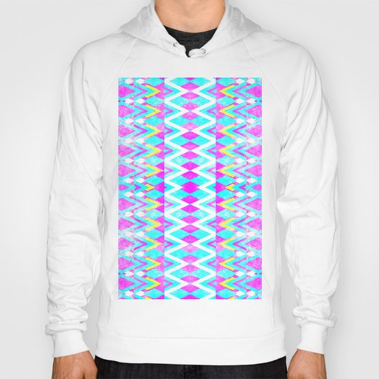 Neon Pink Teal Andes Aztec Triangle Yellow Pattern Hoody