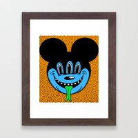 REPTILIAN MICKEYES. (Blue Face). Framed Art Print