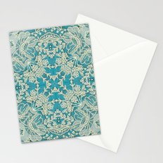 floral lace on blue Stationery Cards