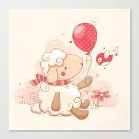 Sheep & Balloon Canvas Print
