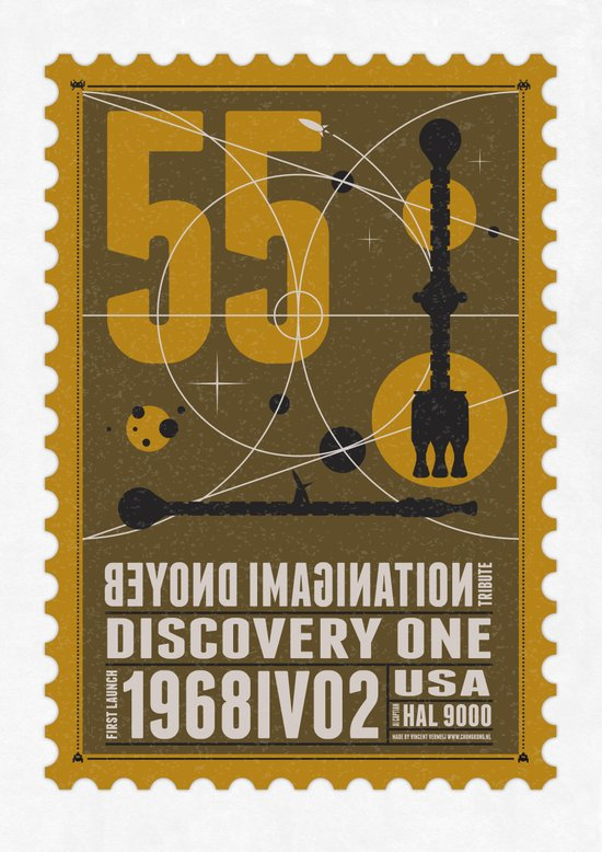 Beyond imagination: Discovery One postage stamp Art Print