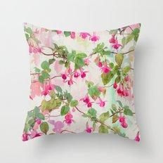 Rainbow Fuchsia Floral P… Throw Pillow
