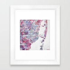 Miami map Framed Art Print