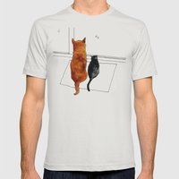 Cat And Dog  Mens Fitted Tee Silver SMALL