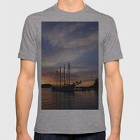 Schooner at sun rise Mens Fitted Tee Athletic Grey SMALL