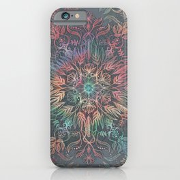 iPhone & iPod Case - Winter Sunset Mandala in Charcoal, Mint and Melon - micklyn