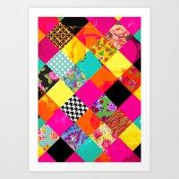 Retro squares Art Print