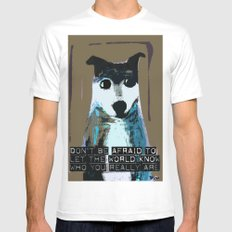 Blue Dog White Mens Fitted Tee SMALL