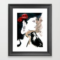 Red Rose Black Bird Framed Art Print