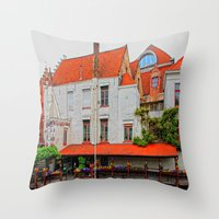 Flowers And Cloggs Throw Pillow