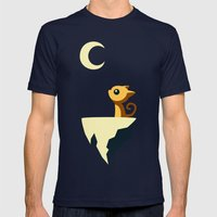 Moon Cat Mens Fitted Tee Navy SMALL