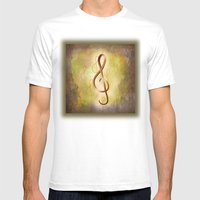 Treble Clef Music Symbol Mens Fitted Tee White SMALL