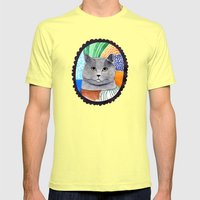 KITTY / GREY Mens Fitted Tee Lemon SMALL