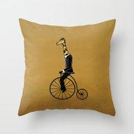 Penny Farthing Giraffe Throw Pillow
