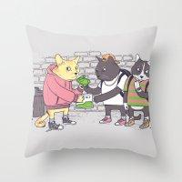 Meowy Wowy Throw Pillow