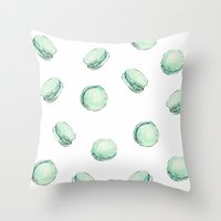 Mint Macaron Throw Pillow