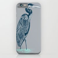 iPhone & iPod Case featuring Bewitching blue heron by Rachel Caldwell