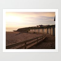 Beach Huts Sunset Art Print