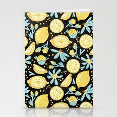 Lemon Pattern Black Stationery Cards