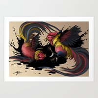 Cock Fight Art Print