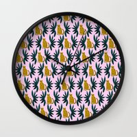 Cheetah and Leaves Wall Clock