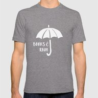 Books And Rain - Black A… Mens Fitted Tee Tri-Grey SMALL