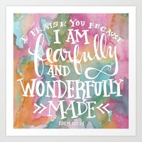 Fearfully and Wonderfully Made - Watercolor Scripture Art Print