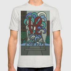 pop LOVE park Mens Fitted Tee Silver SMALL