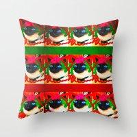 christmas kitty deluxe Throw Pillow