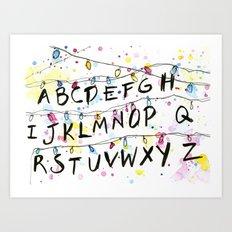 Stranger Things Alphabet Christmas Lights  Art Print