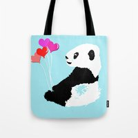 Panda with balloons Tote Bag