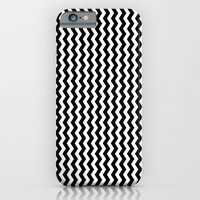 iPhone Cases featuring Black and White Vertical Chevron by Elena Indolfi