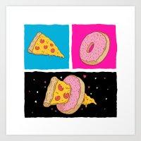 Pizza & Donut Art Print