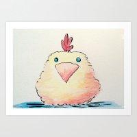 Watercolor Baby Chick Art Print