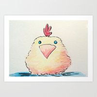Watercolor Baby Chick Art Print
