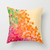 CREATION IN COLOR Autumn Infusion - Colorful Abstract Acrylic Painting Fall Splash Ombre Ocean Waves Throw Pillow