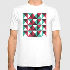 Red, turquoise, black triangle pattern SMALL White Mens Fitted Tee