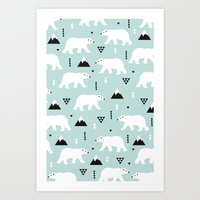 Polar Bears Geometric Wi… Art Print